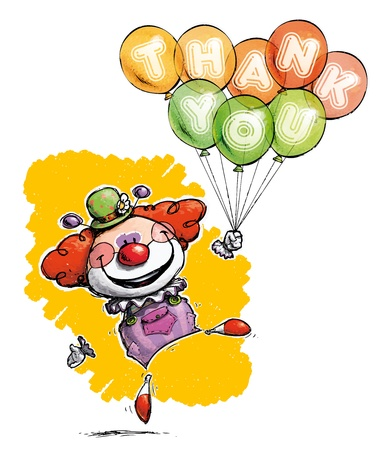 clown nose: Cartoon Artistic illustration of a Clown with Balloons Saying Thank You Illustration
