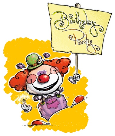 Cartoon/Artistic illustration of a Clown Holding a Birthday Party Placard Stock Vector - 21934985