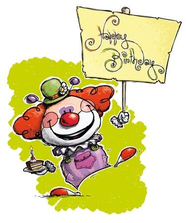 CartoonArtistic illustration of a Clown Holding a Happy Birthday Placard Vector