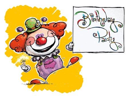 CartoonArtistic illustration of a Clown Holding a Birthday Party Card Vector