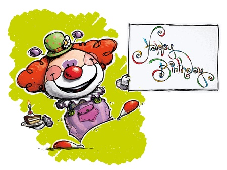 busyness: CartoonArtistic illustration of a Clown Holding a Happy Birthday Card