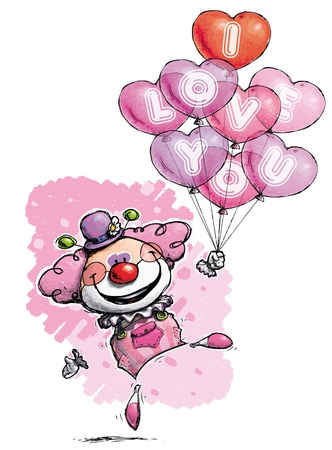 CartoonArtistic illustration of a Clown with Heart Balloons Saying I Love You - Girl Colors Vector