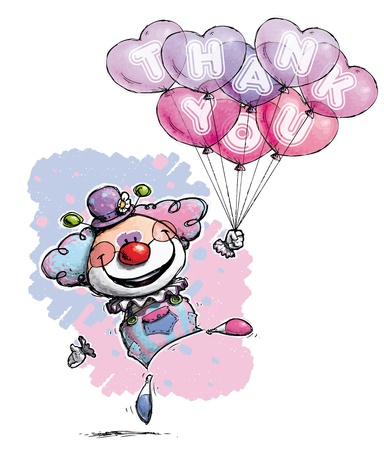 Cartoon/Artistic illustration of a Clown with Heart Balloons Saying Thank You Stock Vector - 21934993