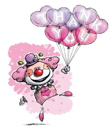 CartoonArtistic illustration of a Clown with Heart Balloons Saying Thank You -  Girl Colors Vector