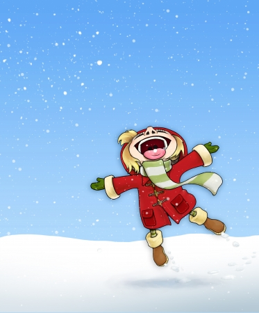 Illustration of a happy young girl in red coat, enjoying the first Snow. illustration