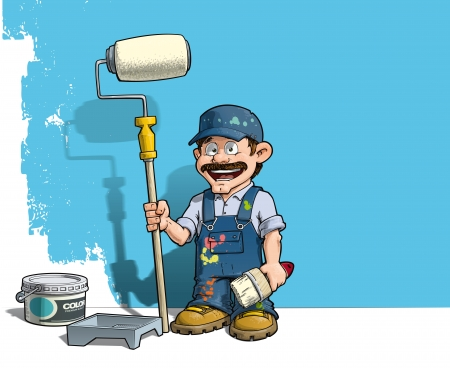 painting and decorating: Cartoon illustration of a handyman - Painter standing by a paint bucket & a paint tray, holding a paint roller in front of a half-painted wall.  Illustration