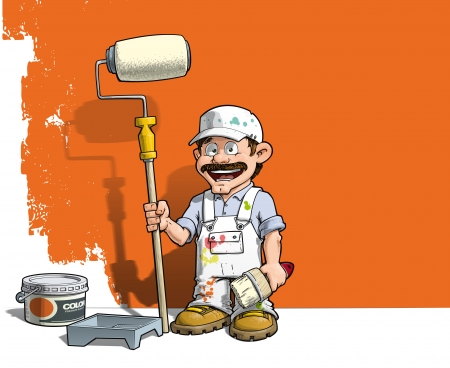 Cartoon illustration of a handyman - Painter standing by a paint bucket & a paint tray, holding a paint roller in front of a half-painted wall.  Vector