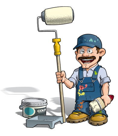 painter and decorator: Cartoon illustration of a handyman - Painter standing by a paint bucket & a paint tray, holding a paint roller.