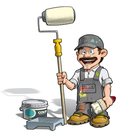 decorator: Cartoon illustration of a handyman - Painter standing by a paint bucket & a paint tray, holding a paint roller.