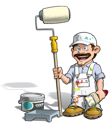 painting and decorating: Cartoon illustration of a handyman - Painter standing by a paint bucket & a paint tray, holding a paint roller.