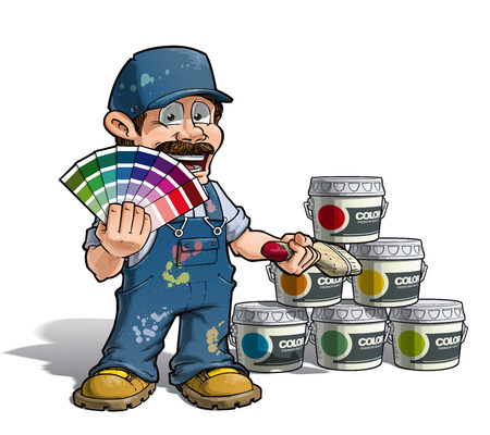 painter decorator: Cartoon Illustration of a construction worker  handyman painter holding a color index a nd showing paint buckets of various colors. Illustration