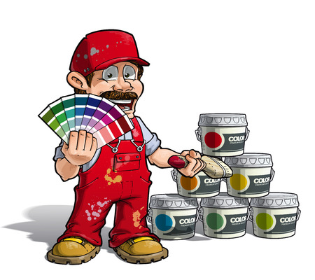 Cartoon Illustration of a construction worker  handyman painter holding a color index a nd showing paint buckets of various colors. Illustration
