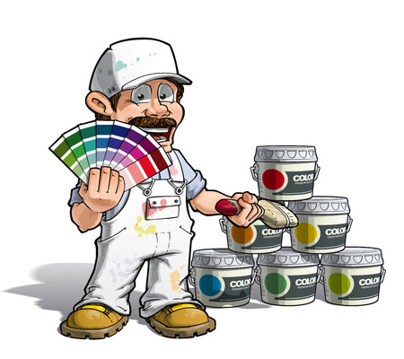 Cartoon Illustration of a construction worker / handyman painter holding a color index a nd showing paint buckets of various colors.