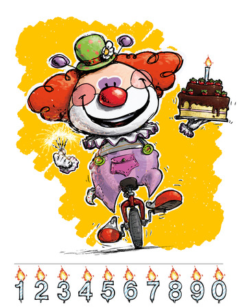 unicycle: Cartoon-Artistic illustration of a Clown on Unicle Carrying a Birthday Cake