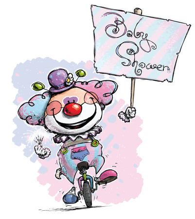 plackard: Cartoon-Artistic illustration of a Clown on Unicle Hoding a Baby Shower Plackard