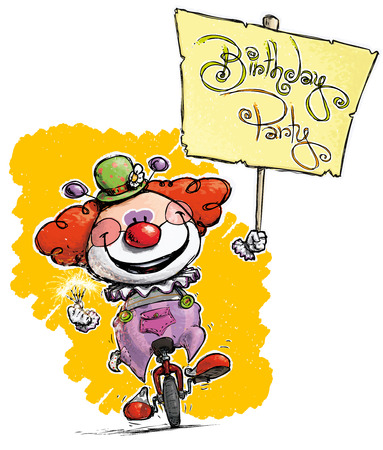 plackard: Cartoon-Artistic illustration of a Clown on Unicle Hoding a Birthday Party Plackard