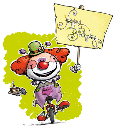plackard: Cartoon-Artistic illustration of a Clown on Unicle Hoding a Happy Birthday Plackard