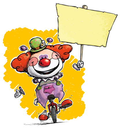 unicycle: Cartoon-Artistic illustration of a Clown on Unicle Hoding a Plackard Illustration