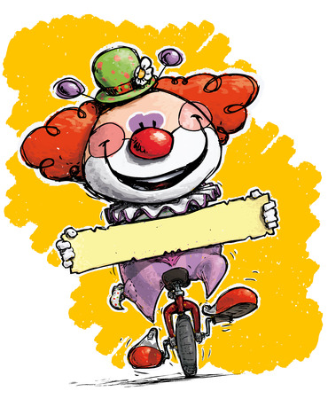 unicycle: Cartoon-Artistic illustration of a Clown on Unicle Holding a Label