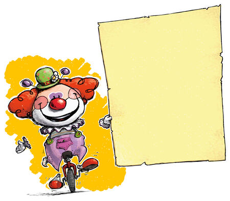 unicycle: Cartoon-Artistic illustration of a Clown on Unicle Holding Invitation-Announcement