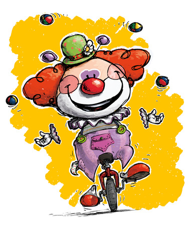 juggler: Cartoon-Artistic illustration of a Clown on Unicle Juggling