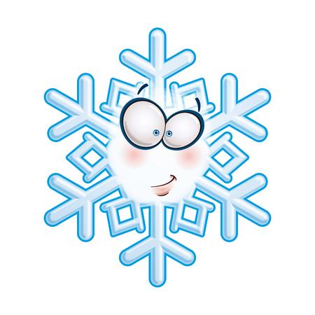 smirking: Cartoon illustration of a snowflake emoticon smirking.