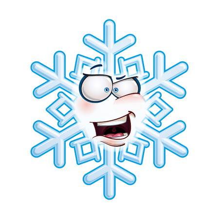 Cartoon illustration of a snowflake emoticon laughing with excitment.