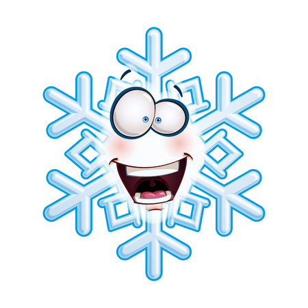 excitment: Cartoon illustration of a snowflake emoticon laughing with excitment.