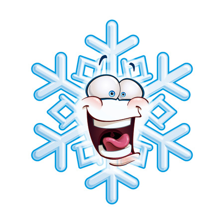 laughing: Cartoon illustration of a snowflake emoticon laughing out loud.