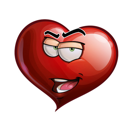 himself: Cartoon Illustration of a Heart Face Emoticon introducing himself