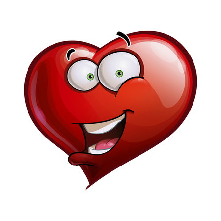 Cartoon Illustration of a Heart Face Emoticon saying Hello  Vector