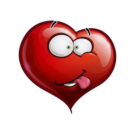 Cartoon illustrazione di un volto Emoticon Cuore sorridente con la lingua fuori Vettoriali