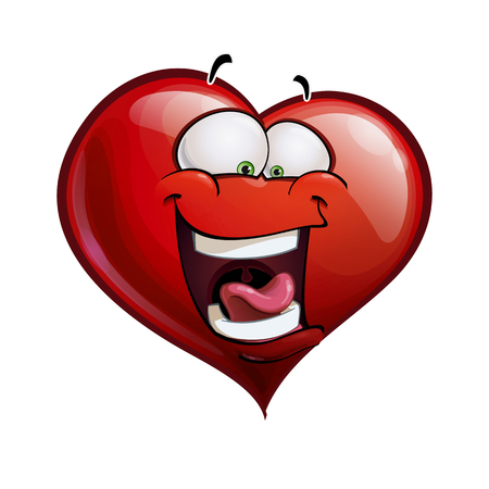 Cartoon Illustration of a Heart Face Emoticon laughing out loud Vector