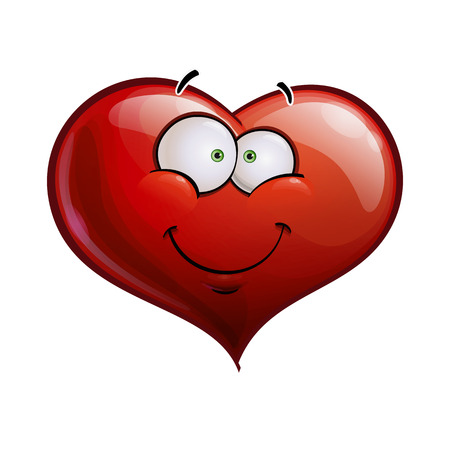Cartoon Illustration of a Heart Face Emoticon happy and smiling Vector