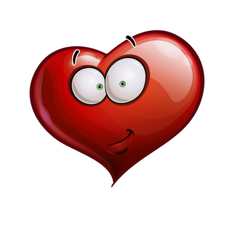 smirk: Cartoon Illustration of a Heart Face Emoticon with a smirk