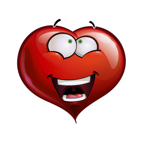 Cartoon Illustration of a Heart Face Emoticon amazed  Vector