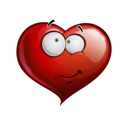 Cartoon Illustration of a Heart Face Emoticon embarrassed  Vector