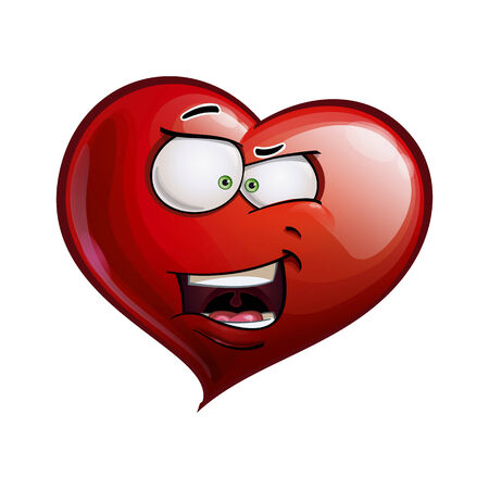 Cartoon Illustration of a Heart Face Emoticon with a  what the     expression  Vector