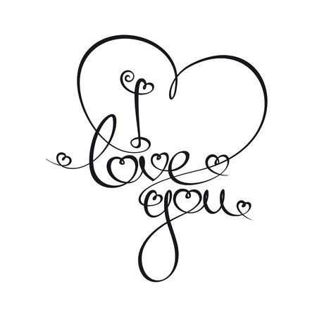 """te amo: Custom Escritura caligráfica tipografía de """"Te amo"""". La línea de arte sigue en doble peso reglas de diseño de la fuente. Vectores"""