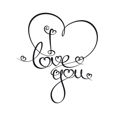 Custom Handwriting Calligraphic typography of I love you. The line art follows on double-weight font design rules.