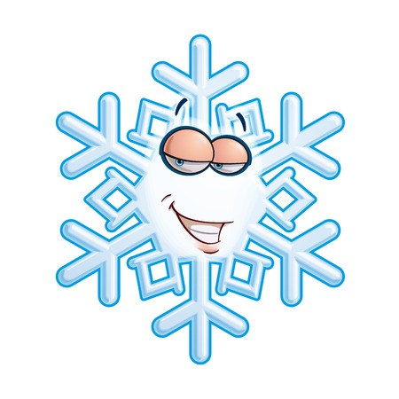 toothy smile: Cartoon illustration of a snowflake emoticon with a toothy smile flirting.