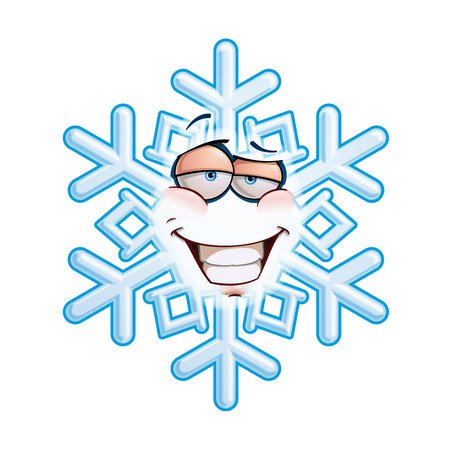 toothy: Cartoon illustration of a snowflake emoticon with a smug expression and a toothy smile