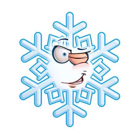 Cartoon illustration of a snowflake emoticon meaningfully winking  Vector