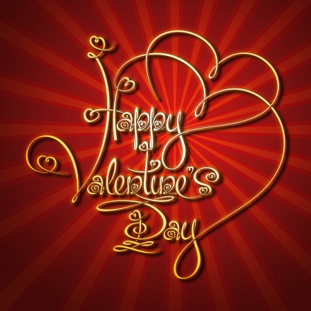 Custom Handwriting Calligraphic typography of  a golden 'Happy Valentines's Day' on a glamorous background. The line art follows on double-weight font design rules.  Vector