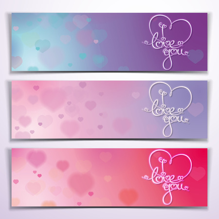 Three banners with custom handwritten lettering in Purple and Pink tones. Vector