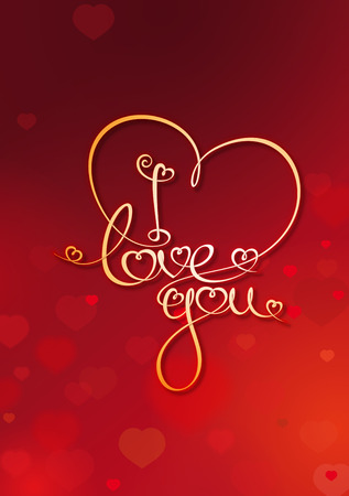 Valentines Card with Custom Handwriting Calligraphic typography on a Red background. The line art follows on double-weight font design rules.  Vector
