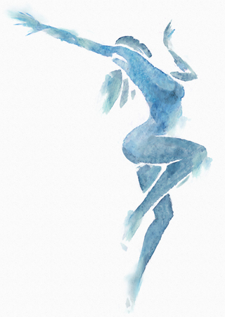 naked female: Watercolor illustration of a female naked modern dancer.