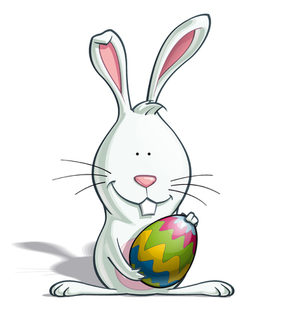 Cartoon illustration of Easter Bunny holding an Easter Egg isolated on white. Vector