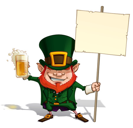 Cartoon Illustration of St. Patrick popular image holding a placard.   Vector