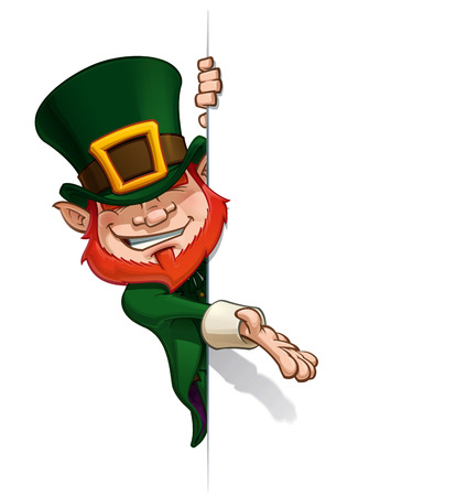 irish banners: Cartoon Illustration of St. Patrick popular image presenting an empty surface.